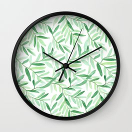 Whimsical watercolor leaves Wall Clock