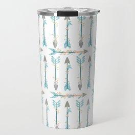 Bohemian pastel blue coral trendy floral arrows pattern Travel Mug