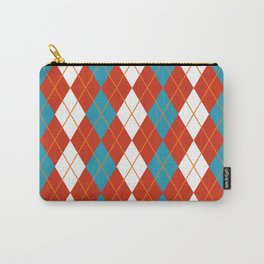 White Blue And Orange Argyle Carry-All Pouch