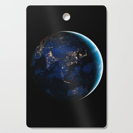 Asia and Australia At Night, Earth From Space, Planet Earth, Space Background, Wall Art Decor Cutting Board
