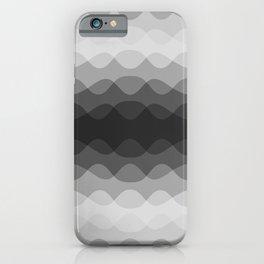 Overlapping Wavy Horizontal Lines Light Gray Mid-tone Gray & Dark Gray Pattern iPhone Case