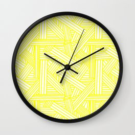 Sketchy Abstract (Yellow & White Pattern) Wall Clock
