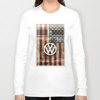 vw bus Long Sleeve T-shirts featuring VW Retro US Flag by Alice Gosling