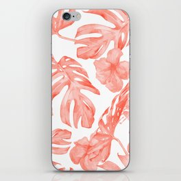 Tropical Hibiscus and Palm Leaves Dark Coral White iPhone Skin