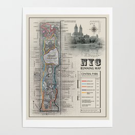 """NYC's Central Park [Black and White] """"San Remo"""" Running route map Poster"""
