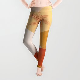 Peachy Tropical Palm Sunset #abstractlandscape Leggings
