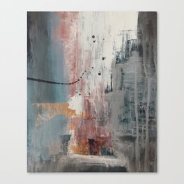 S'il Vous Plait: an abstract mixed-media piece in blue, gray, and gold by Alyssa Hamilton Art Canvas Print