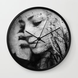 Another World - surreal dreamy portrait, woman nature photo, tree nature portrait Wall Clock