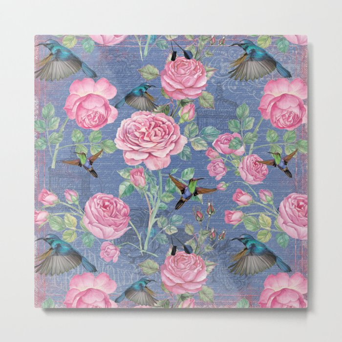 Vintage Watercolor hummingbird and English Roses on blue Background Metal Print