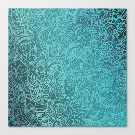 Detailed zentangle square, blue colorway Canvas Print