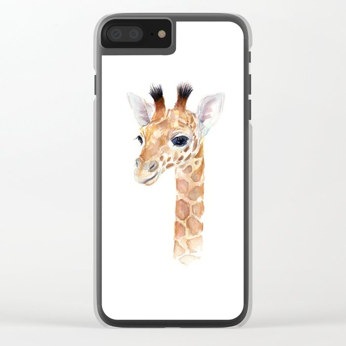Baby Giraffe Cute Animal Watercolor Clear iPhone Case