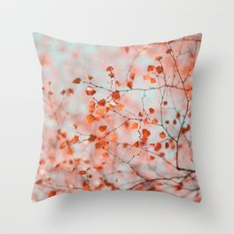 Autumn Silver Birch Leaves Throw Pillow