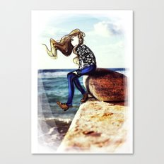 Girl on a stone Canvas Print