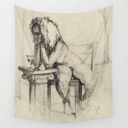 'The Unwinding' Charcoal Drawing Nude woman drinking Wine Wall Tapestry
