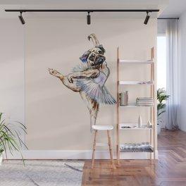 Pug Ballerina in Dog Ballet   Swan Lake  Wall Mural