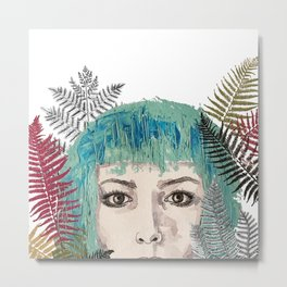 Blue-haired girl with leaves Metal Print