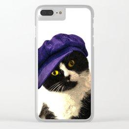 Cat Blue Hat Clear iPhone Case