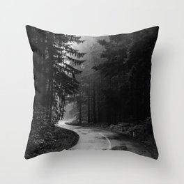 The Dark Path (Black and White) Throw Pillow