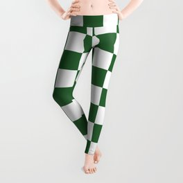 Chessboard Green Racetrack Checkered Pattern Leggings