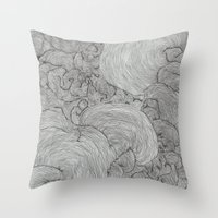 the strokes Throw Pillows featuring Strokes by Sarah Renee G.