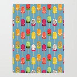 Fruit popsicles - blue version Poster