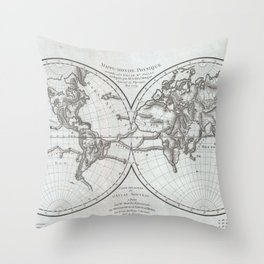 Vintage Northern and Southern World Hemisphere Map Throw Pillow