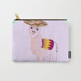 Cartoon Alpaca in Sombrero Carry-All Pouch