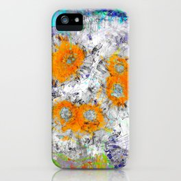 Abstract Floral Mixed Media Watercolor Ink Painting , orange & aqua iPhone Case