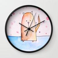 polkadot Wall Clocks featuring Polkadot Cat by Jessy Belanger
