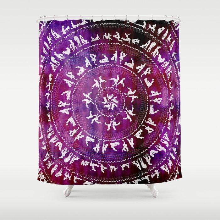 Kama Sutra Mandala Dark Red Shower Curtain