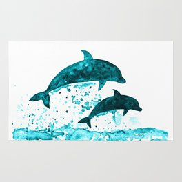 Dolphins, navy blue Rug