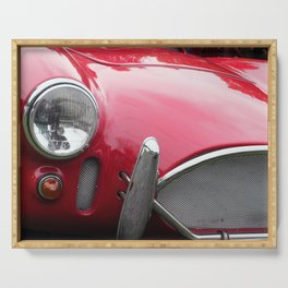 close up - vintage red 1960s sports car Serving Tray