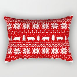 Pig Silhouettes Christmas Sweater Pattern Rectangular Pillow
