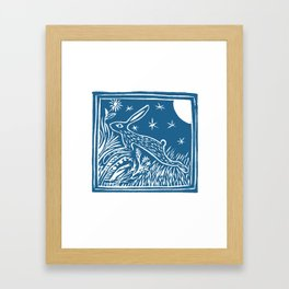Lino Cut Hare Framed Art Print