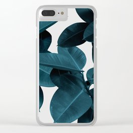 Indigo Plant Leaves Clear iPhone Case