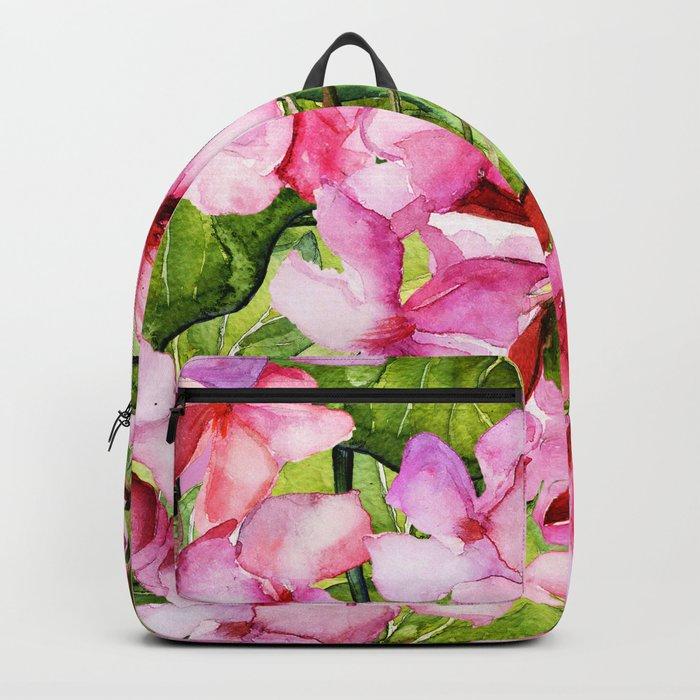 Aloha-my tropical pink oleander flower garden Backpack