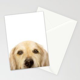 Golden retriever Dog illustration original painting print Stationery Cards