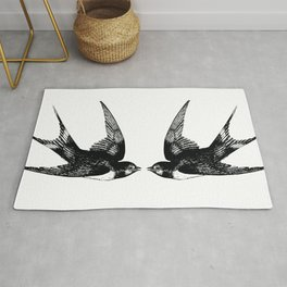Double Swallow Illustration Rug