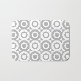 Mid Century Square and Circle Pattern 541 Gray Bath Mat