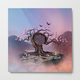 Blossoming Flower of Life Tree Metal Print