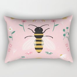 Honey Bee Floral Pattern Rectangular Pillow