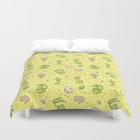 digimon Duvet Covers featuring Leafmon and Roses by Kiriska