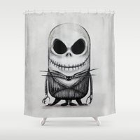 jack skellington Shower Curtains featuring Mini Jack Skellington by bimorecreative