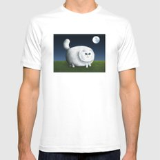 Fat Cat Looks at the Moon White Mens Fitted Tee MEDIUM