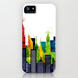 Colorful City Buildings And Skyscrapers In Watercolor, New York Skyline, Wall Art Poster Decor, NYC iPhone Case