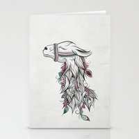 llama Stationery Cards featuring Llama by LouJah