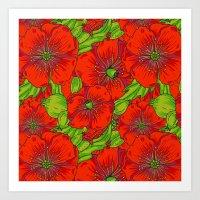 Red poppies flowers pattern Art Print