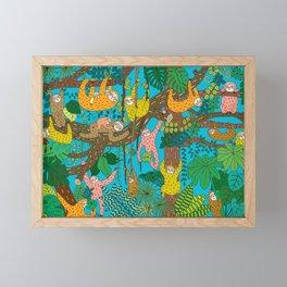 Happy Sloths Jungle Framed Mini Art Print