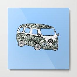Blue bus Metal Print