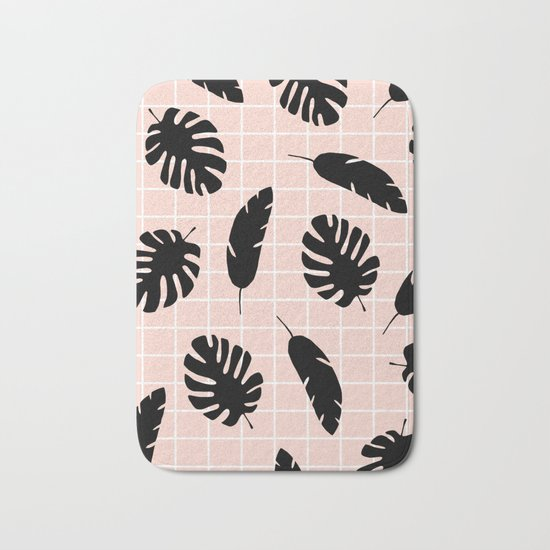 Graphic Tropical Leaves on Grid Black and Pink Bath Mat